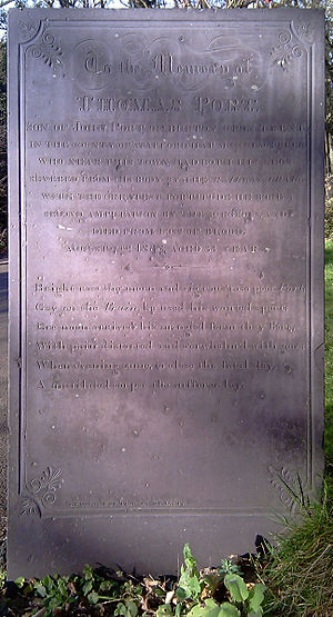 1838 Harrow rail accident - Thomas Port's gravestone in the graveyard of St Mary's Church, Harrow on the Hill.