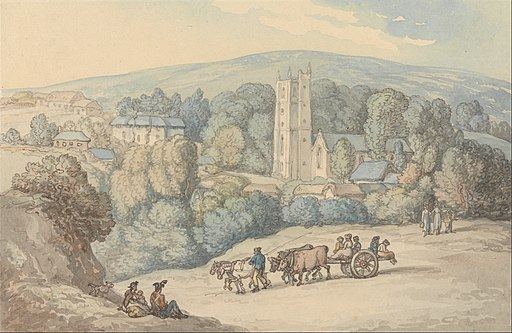 Thomas Rowlandson - View of the Church and Village of St. Cue, Cornwall - Google Art Project