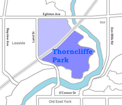 The northwest portion is only sometimes considered part of Thorncliffe Park