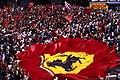 Supporters de la Scuderia Ferrari au Grand Prix d'Italie 1996.