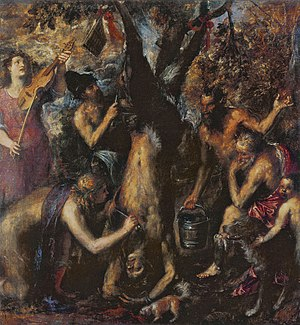 Phrygia - The Flaying of Marsyas by Titian, 1570s, with King Midas at right, and the man with a knife in a Phrygian cap
