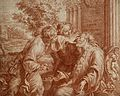 Tobit annointing his father's eyes. Red chalk drawing by B. Wellcome V0049501.jpg