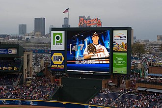 Tom Glavine - Glavine being introduced at Turner Field in his first game back with the Braves in 2008
