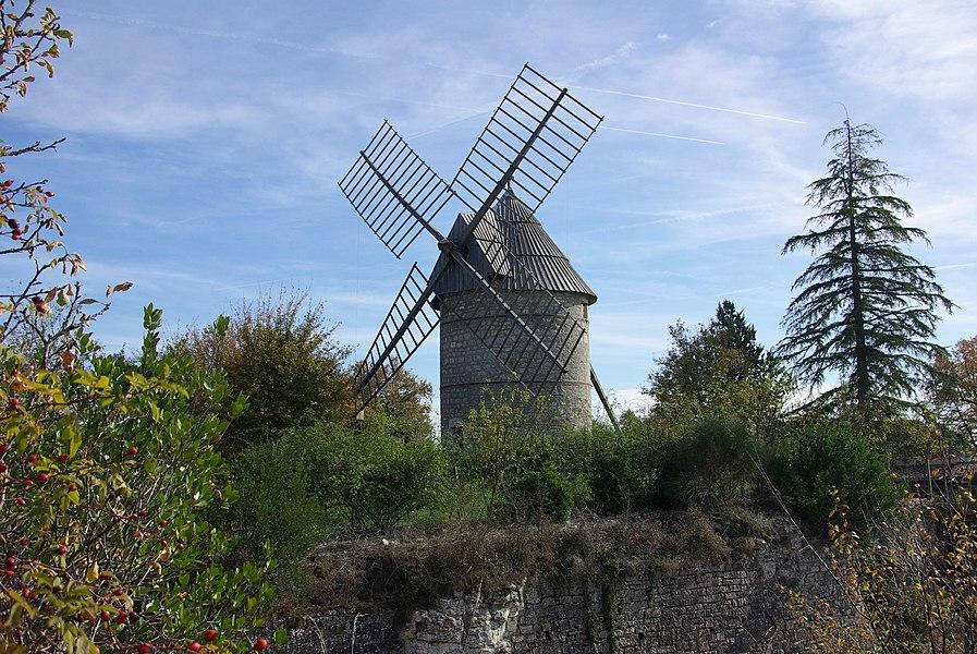 Tower windmill in Castelnau-Montratier (Lot, France).