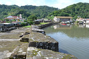 Portobelo, Colón - View of the fort, the Aduana building, and the church