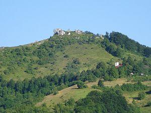 Velika Kapela - Eastern slopes of the Velika Kapela with ruins of the Tržan Castle in Modruš