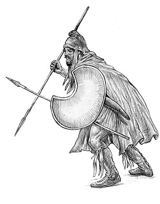 Warrior - Drawing of a Thracian peltast of 400 BC