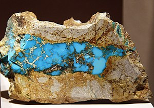 Los Cerrillos, New Mexico - A fine  Cerrillos Turquoise specimen at the  Smithsonian