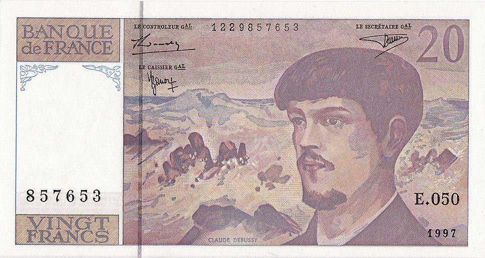 Twenty franc banknote claude debussy