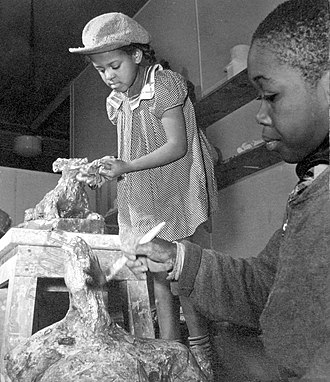 Harlem Community Art Center - Two children at the Harlem Community Art Center in 1939