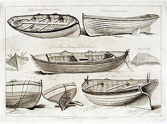 Jolly boat - Types of boat shown in an 1808 engraving, including top left, 'a Jolly boat for oars or sail'