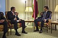 U.S. Defense Secretary Ash Carter, left, meets with Qatar's emir, Sheikh Tamim bin Hamad Al Thani, in Washington, D.C 150225-D-DT527-083.jpg