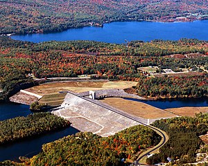 Franklin Falls Dam - Franklin Falls Dam, with separate Webster Lake in the background