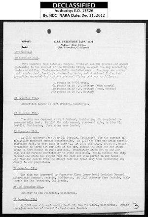 USS Freestone (APA-167) - Image: USS Freestone War Diary Pg 03 Nov 1944