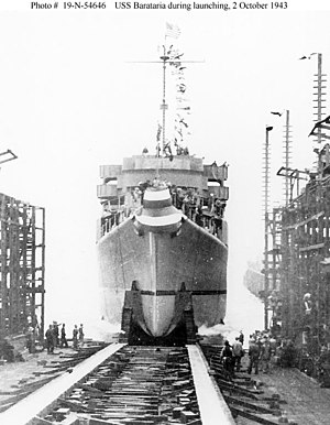 USS Barataria (AVP-33) - USS Barataria (AVP-33) is launched on 2 October 1943 at Lake Washington Shipyard, Houghton, Washington.