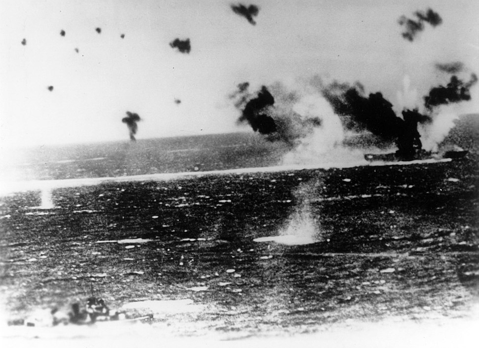 USS Lexington (CV-2) under air attack during the Battle of the Coral Sea, 8 May 1942 (NH 95579)