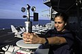 US Navy 030926-N-2143T-002 Aerographers Mate 3rd Class Faride Muwad from Orlando, Fla., reads surface winds.jpg