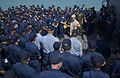 US Navy 040821-N-0962S-012 Master Chief Petty Officer of the Navy (MCPON) Terry Scott speaks to Sailors aboard guided missile cruiser USS Mobile Bay (CG 53) deployed in support of Operation Iraqi Freedom (OIF).jpg