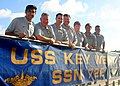 US Navy 050225-N-5539C-002 Players and coaches from the Major League Soccer team, the Los Angeles Galaxy pose for a photograph on the brow of the Los Angeles-class attack submarine USS Key West.jpg