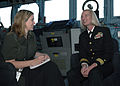 US Navy 070608-N-8487G-018 Commander Task Force 76 Rear Adm. Carol M. Pottenger is interviewed by Jodie O' Brien, The Courier Mail Queensland Newspaper during Juneau's port visit in Brisbane.jpg
