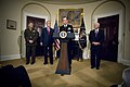 US Navy 070628-N-0696M-146 Chief of Naval Operations (CNO) Adm. Mike Mullen speaks following his nomination by President George W. Bush as Chairman of the Joint Chiefs of Staff.jpg