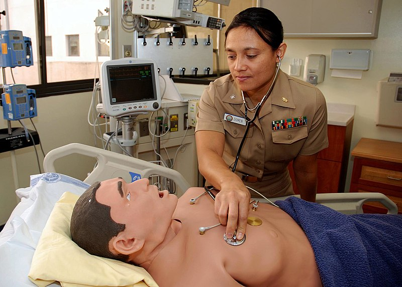 File:US Navy 081212-N-5086M-078 Cmdr. Ramona Domen, assistant director of the Naval Medical Center San Diego Medical and Surgical Simulation Center checks the heart and lungs of the Mobile Adult Trainer mannequin.jpg
