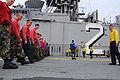 US Navy 090409-N-5538K-198 Sailors assigned to the amphibious assault ship USS Essex (LHD 2) conduct a foreign object damage walk-down.jpg