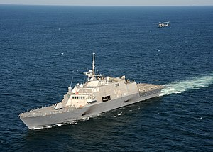 US Navy 090928-N-7241L-232 The littoral combat ship USS Freedom (LCS 1) conducts flight deck certification with an MH-60S Sea Hawk helicopter assigned to the Sea Knights of Helicopter Sea Combat Squadron (HSC) 22.jpg