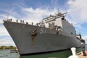 US Navy 111213-N-WW127-376 The amphibious dock landing ship USS Oak Hill (LSD 51) arrives at Naval Station Guantanamo Bay, Cuba.jpg