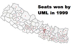 Nepalese legislative election, 1999 - Image: Uml map 1999
