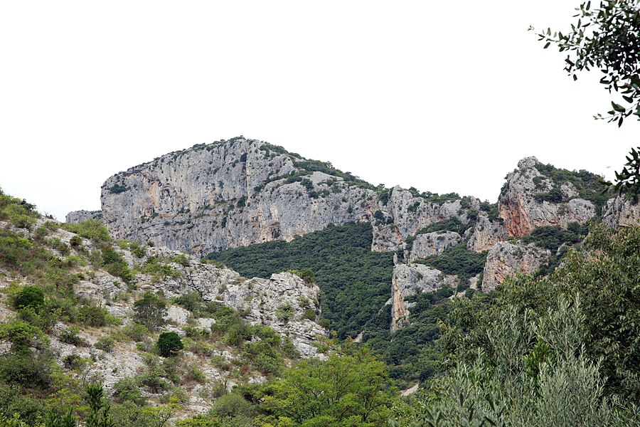 """A circle cliffs of the named """"World's End"""" location after St. Guilhem-le-Desert."""