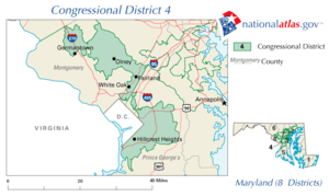 United States House of Representatives elections in Maryland, 2006 - Image: United States House of Representatives, Maryland District 4 map