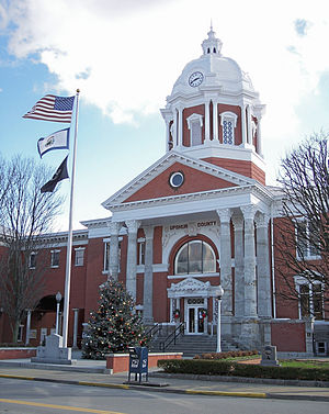 The Upshur County Courthouse, designed by architect Harrison Albright[1] pictured in Buckhannon in 2006