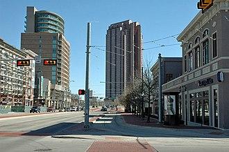 Uptown, Dallas - Looking east along Blackburn Street in Uptown
