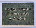 Urząd Stanu Cywilnego plaque, Plac Stefana Czarnieckiego, Warka, Poland, 2019.jpg