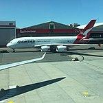 VH-OQF Qantas A380 at SYD (30725684275).jpg