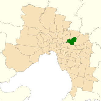 Electoral district of Bulleen - Location of Bulleen (dark green) in Greater Melbourne