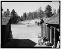 VIEW FROM EAST, SERVICE YARD - Bryce Canyon Lodge, Bryce Canyon, Garfield County, UT HABS UTAH,9-BRYCA,1-31.tif