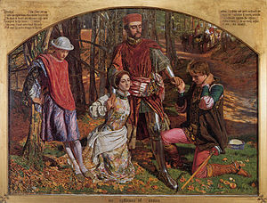 The Two Gentlemen of Verona - Valentine Rescuing Silvia from Proteus by William Holman Hunt (1851).