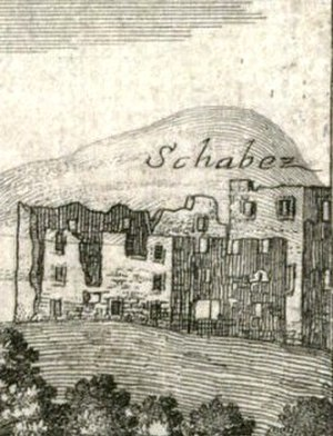 Posert Castle - Posert Castle (Schabez) viewed from the southeast side, 1679