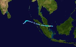 Tropical Storm Vamei - Image: Vamei 2001 track