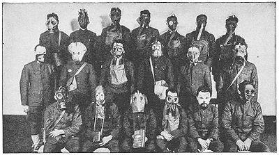 Varias máscaras de gas empleadas en el Frente Occidental durante la guerra.
