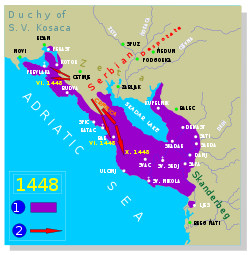 Venetian property, and invasion of the Serbian Despotate (Djuradj Brankovic).svg