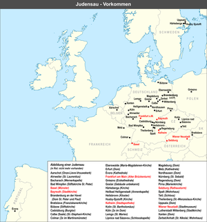 Hitler's Willing Executioners - Map listing (in German) the presence of Judensau images on churches of central Europe; the ones that were removed marked in red