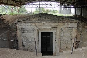 Macedonia (ancient kingdom) - The entrance to one of the royal tombs at Vergina, a UNESCO World Heritage site