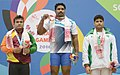 Victor Abilash Christopher (India) winner of Gold Medal in the Men's Weight Lifting 105 kg weight Category with Silver medallist Shananka Madusankar Peters (Sri Lanka) and Bronze medallist Azharamir (Pakistan).jpg
