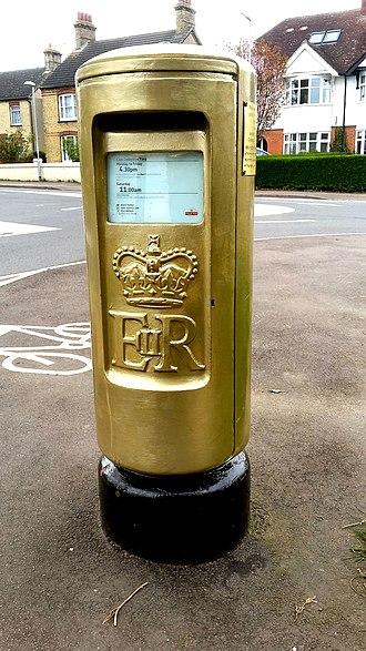 Victoria Pendleton - Gold postbox in honour of Pendleton in Stotfold