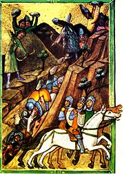 The army of Charles Robert Anjou ambushed by Basarab's army at Posada from  Vienna Illuminated Chronicle manuscript (Chronicon Pictum)