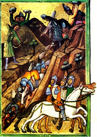 Battle of Posada - The army of Charles Robert Anjou ambushed by Basarab's army at Posada from Vienna Illuminated Chronicle manuscript (1330) The Vlach (Romanian) warriors rolled down rocks over the cliff edges in a place where the Hungarian mounted knights could neither escape from them nor climb the heights to dislodge the Vlach warriors.