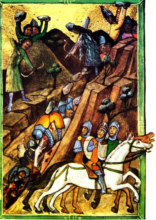 The Battle of Posada (November 9-12, 1330) in Chronicon Pictum. The Basarab I of Wallachia's army ambushes Charles Robert of Anjou, king of Hungary and his 30,000-strong invading army. The Vlach (Romanian) warriors roll down rocks over the cliff edges in a place where the Hungarian mounted knights cannot escape from them nor climb the heights to dislodge the attackers. Viennese Illuminated Chronicle Posada.jpg